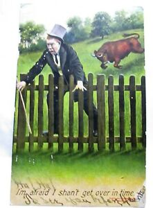 1910 POSTCARD I'M AFRAID I SHAN'T GET OVER IN TIME, BULL CHASING MAN AT FENCE