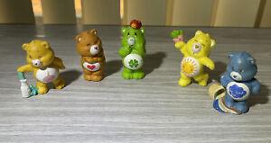 "Vintage Lot Of 5 Care Bears Mini Figures TCFC PVC 2.5"""