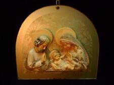 Très rare icône nativité' en céramique années 50 sur base en verre travaillé