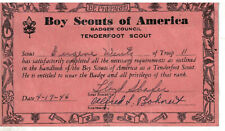 1946 Boy Scouts of America Tenderfoot Advancement Card
