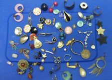 OVER 60 PCS LOT OF UNIQUE ODD JEWELRY PARTS OR PIECES FOR CRAFTS SINGLE EARRINGS