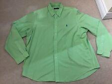 Authentic men's designer RALPH Lauren polo green long sleeve casual shirt xxl