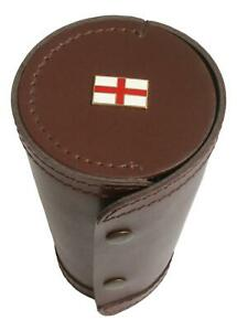 George Cross 1-10 Numbered Cups in Brown Leather Popper Case 151