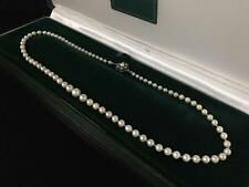 VINTAGE GERMAN SALTWATER AKOYA PEARL GRADUATED NECKLACE 835 SILVER CLASP - 740
