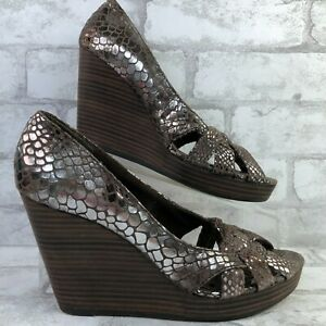 Seychelles 9M Wedge Dress Sandal Brown Silver Leather Reptile Print Open Toe