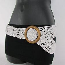 New Women Beige / White / Brown Knited Fabric Fashion Belt Wood Buckle S/M 29-38