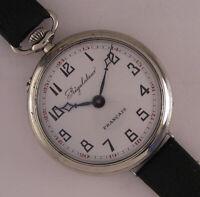 VINTAGE Fully Serviced Regulateur FRANCAIS Systeme Roskopf 1910 Wrist Watch A+