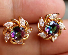 18K Yellow Gold Filled - Windmill Purple Mystic Topaz Gemstone Party Earrings
