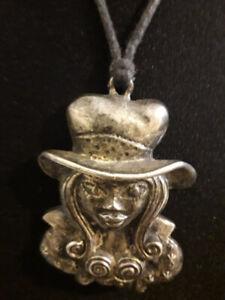 Arts & Crafts Pewter Pendant Art Nouveau Lady in Hat C & P Copine Paris France