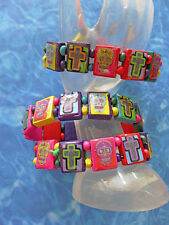 Colorful SURFER STYLE Wood Sugar Skull Beads Stretch Day of the Dead BRACELET