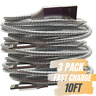 10Ft Braided Apple Lightning Charging Cable Cord 3 Pack iPhone Charger Lot Gray