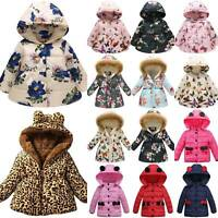 Winter Toddler Kids Girl Floral Hoodie Coat Padded Fluffy Jacket Windproof Warm