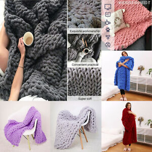 Luxury Chunky Knit Throw Blanket Super Soft Warm Cozy Chenille Bulky Blankets