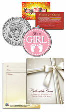 """It's a Girl"" Baby Gift  Keepsake JFK Kennedy Half Dollar US Coin"