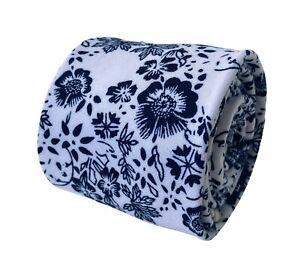 Frederick Thomas Designer Mens Tie - white & blue floral classic width cotton