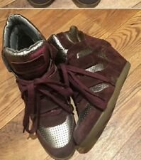 Ash High Top Burgundy Wedge Sneaker Size 38 (B, M) 7.5/8 Suade Leather Silver