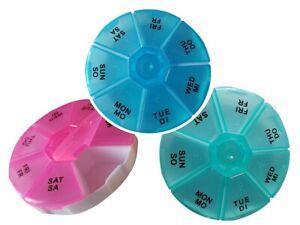Medikamentenbox 7 Tage Pillendose rund Tablettenbox Tablettendose