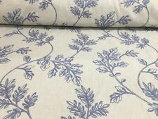 Trinity Oxford Blue Embroidered Linen 140cm Wide Curtain Upholstery Fabric