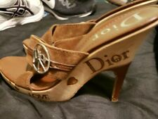 CHRISTIAN DIOR LOVE SHOES WEDGE HEELS 38 EU  US 7.5  BROWN LEATHER