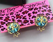Betsey Johnson Crystal Rhinestone Blue Owls Gold Stud Earrings Free Gift Bag