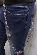Men Silver Metal Wallet Chain Keychain Jeans Biker Skeleton Skulls Red Bandana