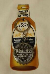 Top Bloke bottle opener / enamel keyring - I'm an Electrician - new in pack