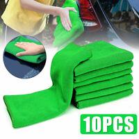 Green Microfiber Cleaning Tool Auto Car Detailing Soft Wash Towel Reusable 10Pcs