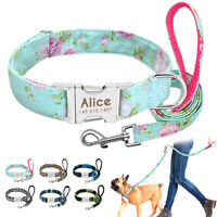 Personalised Boho Floral ID Dog Collars and Leash Laser Engraved Metal Buckle