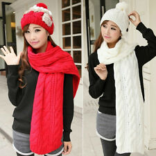 Hot Men Women Winter Warm Knit Neck Wool Long Scarf Wrap Shawl Stole Scarves