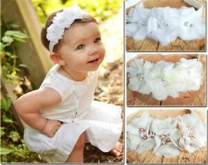 White Ivory Flowers Rhinestone Pearls Baby Hair Band Baptism Wedding Christening