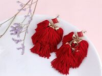 Earrings Golden Chandelier Pompom Tassel Red Fabric Long Ethnic XX24