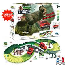 Circuit petite voiture thème dinosaure avec décore