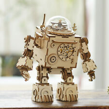 ROKR 3D Puzzle Music Box Wooden Craft Kit Robot Machinarium Toy Gift with Light