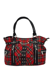 Lost Queen Rise Up Handcuff Red Stewart Tartan Plaid Check Tote Crossbody Bag