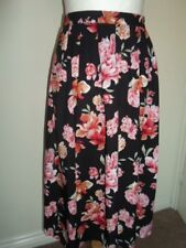 FOREVER 21 ladies skirt size XS black pink/cream/green floral knee length new