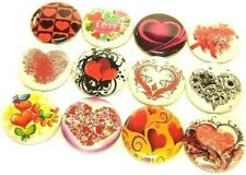 """12 Hearts Buttons 1"""" Badges Love One Inch Pinbacks Valenti 00006000 ne Cute Mixed Lot"""