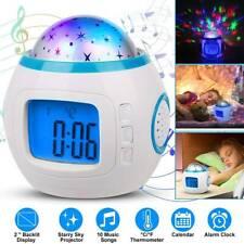 LED Wecker für Kinder mit buntem Sternenhimmel Projektor Uhr Nachtlicht Lampe DE
