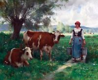 "1890- Julien Dupre, Milkmaid w her Cows, antique decor, 20""x16"" Art Print"