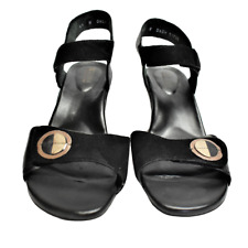 Ziera Women 9.5 41 WIDE Sandals Black Suede Leather Heels Adjustable Straps