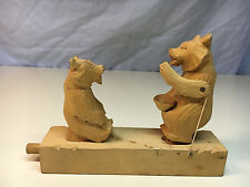 Old Vtg Wood Wooden Handcarved Russian? Pair Of Bears Pull String Toy