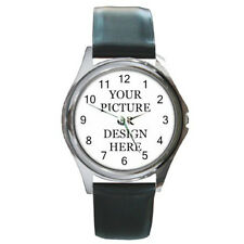 Custom Made Personalized Round Leather Band Watch Your Photo Design Text Logo