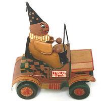 Retired Bethany Lowe Vintage Style Halloween Hoot N Toot Metal Pumpkin Man Car