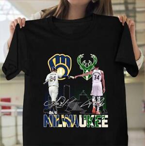 Milwaukee Bucks And Milwaukee Brewers Shirt NBA Basketball Team Black Cotton Tee