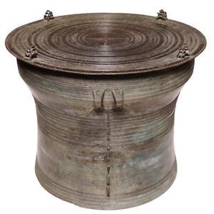 Antique Burmese Bronze Karen Frog Drum