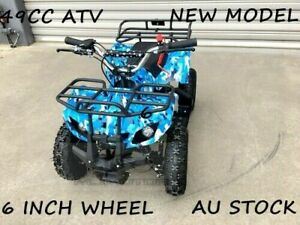 49CC MINI FARM QUAD BIKE ATV BUGGY KIDS 4 WHEELER POCKET PIT DIRT BIKE BLUE