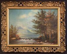Antique Adirondack Lake Scene Painting