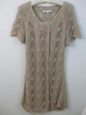 Nougat London Crochet Knit Cardigan Long Cover Up Beige w Metallic Thread Sz-3
