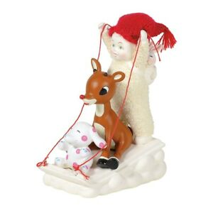 Snowbabies 6003476 Sledding With Rudolph Figurine