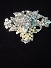 Silver Pewter Art Nouveau GRAPE CLUSTER w/Faux Pearls Pin