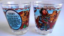 TWO Native American StoryTeller shot glasses showing dolls & story 2½ X 2 inch